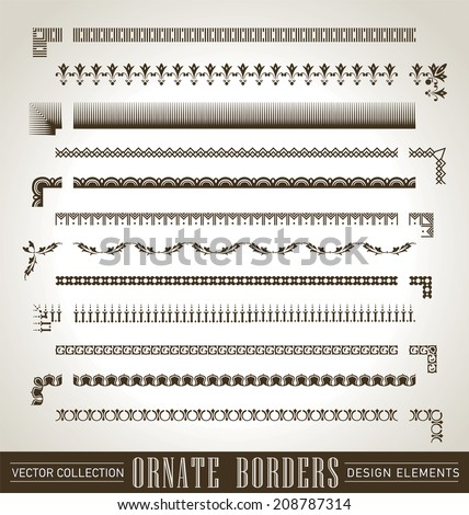 set of ornate borders with decorative corner elements, vector (eps8) - stock vector