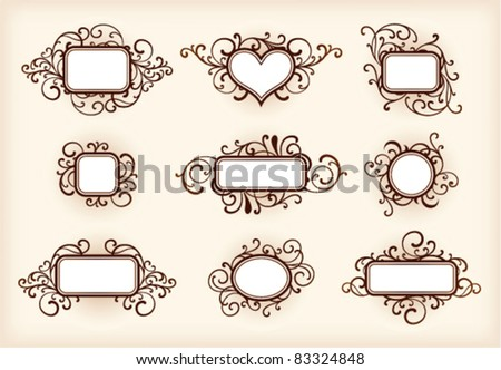 Set of ornate frames on a light brown background - stock vector