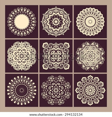 Set of ornate oriental mandalas. Circular and square forms. Lace patterns - stock vector