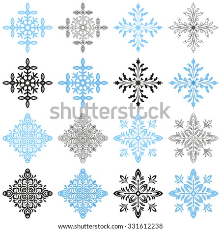 Set of Ornate Snowflakes, Christmas Elements in Various Versions, with Strokes, without Strokes, Contours and Black Silhouettes Isolated on White Background. Vector - stock vector