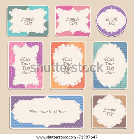 Set of ornate vector frames and labels - stock vector