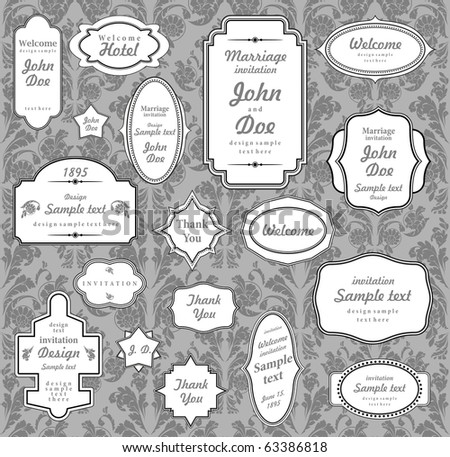 Set of ornate vector frames and ornaments with sample text. Perfect collection for invitation. - stock vector