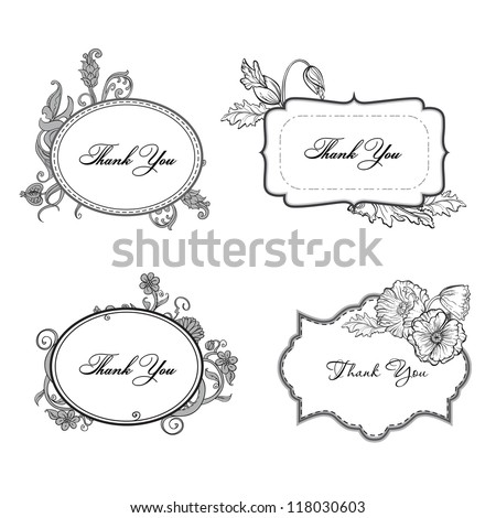 set of ornate vector frames and ornaments with sample text vintage frame