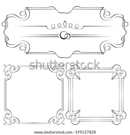Set of ornate vector frames for design - stock vector