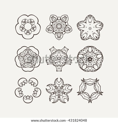 Set of ornate vector mandala symbols. Mehndi lace tattoo. Oriental weave. The circular pattern.