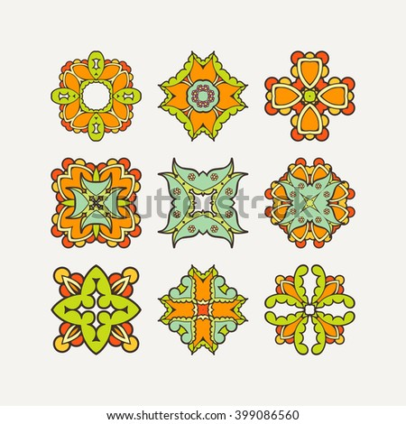 Set of ornate vector mandala symbols. Mehndi lace tattoo. Oriental weave with sharp corners. The circular pattern. - stock vector
