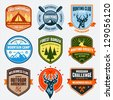 Set of outdoor adventure badges and hunting logo emblems - stock