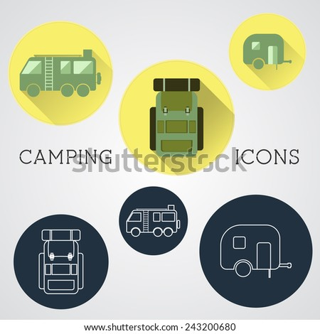 Set of outdoor adventure icons, badges and campsite logo emblems. Summer 2015 stickers. Vector
