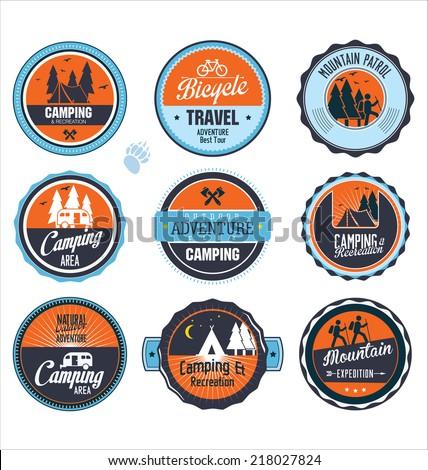 Set of outdoor adventure retro labels - stock vector