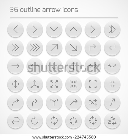 Set of outline arrow icons on white buttons. Vector illustration - stock vector