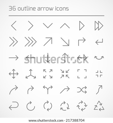 Set of outline arrow icons. Vector illustration - stock vector