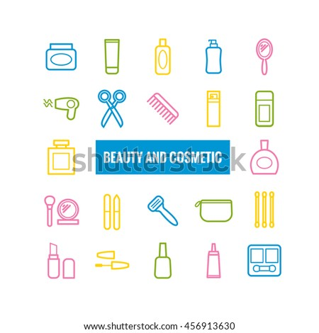 Set of outline beauty and cosmetic icons. Linear icons for print, web, mobile apps