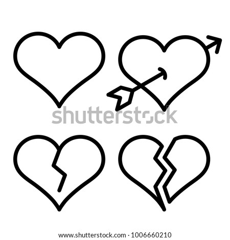 Set Outline Broken Heart Icons Isolated Stock Vector 1006660210