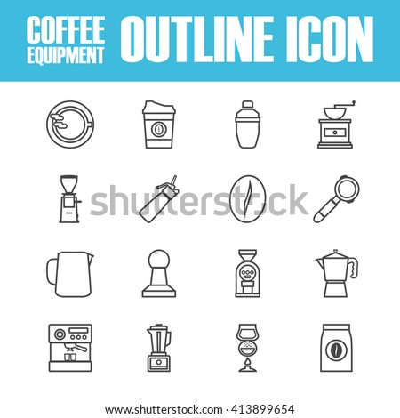 set of outline coffee icon, isolated on white background