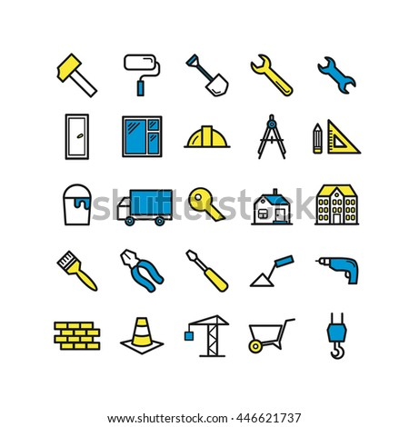 Set of outline construction and building icons. Thin linear icon for web, mobile apps design