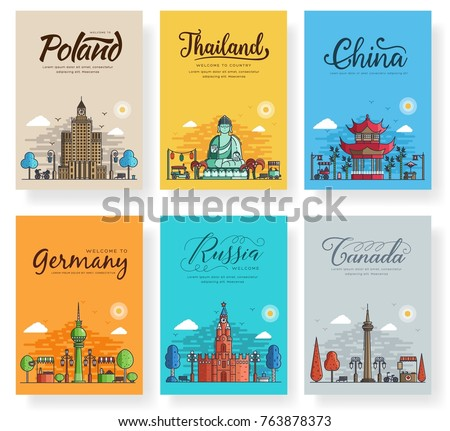 Set of outline different cities for travel destinations. Landmarks banner thin line of flyer, magazines, posters, book cover, banners. Layout world architectural flat illustrations modern pages
