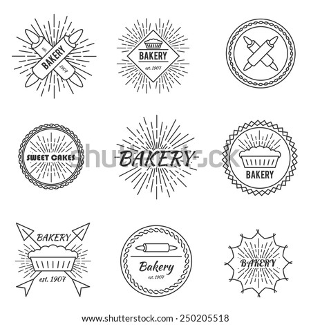 Set of outline emblems bakery cake pastry business - stock vector