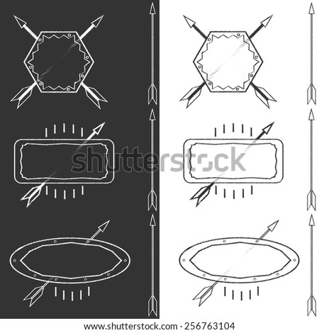 Set of outline emblems with the arrows