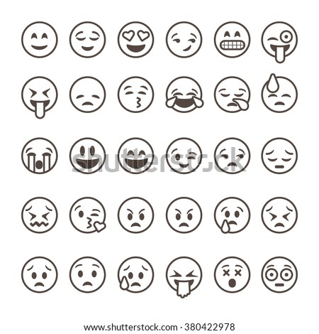 Set of outline emoticons, emoji isolated on white background, vector illustration.