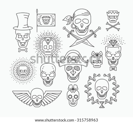Set of outline empty skulls. Line hipster collection.