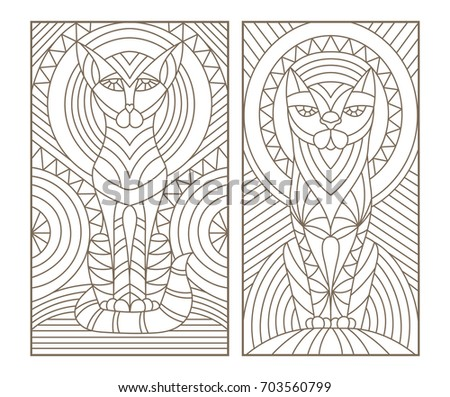 Set Of Outline Illustrations In The Style Stained Glass With Abstract Cats