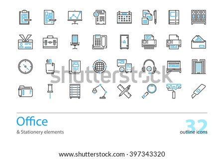 Set of outline Office and Stationery elements icons. Black and blue. - stock vector