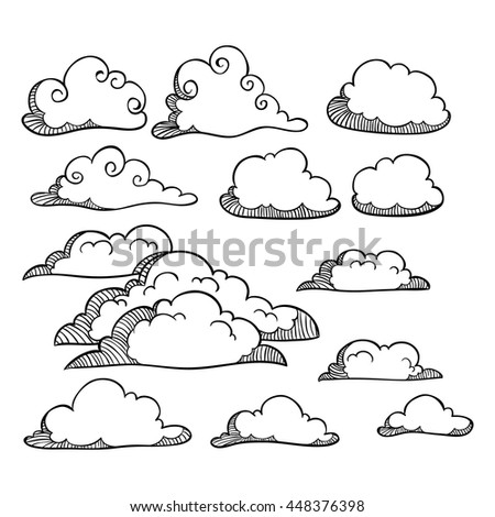 Set of outline or doodle art clouds on white background - stock vector