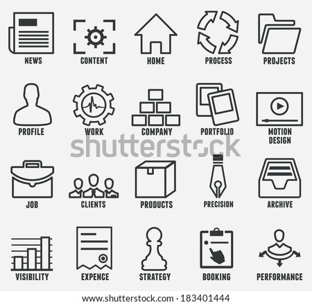 Set of outline seo and internet service icons for design - part 1 - vector icons - stock vector