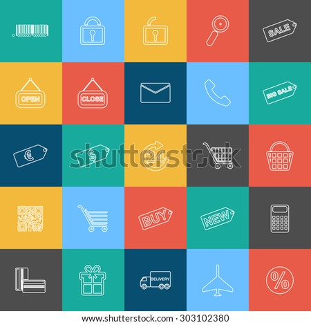Set of outline shopping, e-commerce web icons for graphic and web design - stock vector