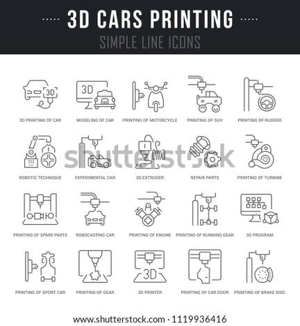 Set Outline Signs Symbols 3 D Cars Stock Photo Photo Vector