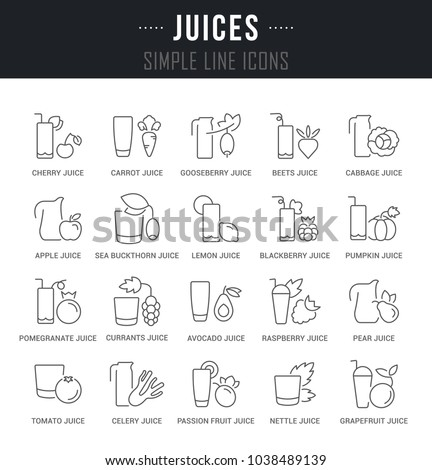 Set Outline Signs Symbols Juices Names Stock Vector Royalty Free