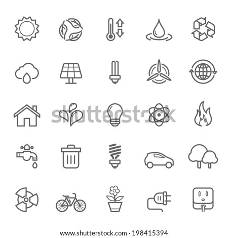 Set of Outline Stroke Ecology Icons Vector Illustration - stock vector