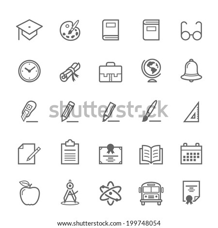 Set of Outline stroke Education icons Vector illustration - stock vector