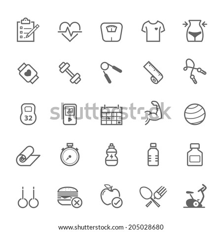 Set of Outline stroke Fitness icons Vector illustration - stock vector
