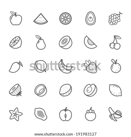 Set of Outline stroke Fruit icon Vector illustration
