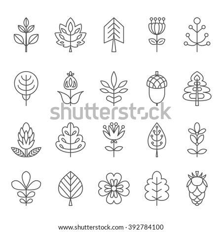 Set of outline stroke icons with tress, leaves and flowers. Vector illustration for your cute design. It can be used as - logo, pictogram, icon, infographic element. - stock vector