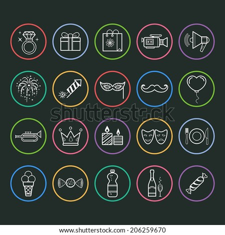 Set of outline vector icons of party and birthday. - stock vector