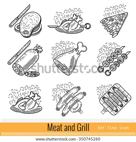 Set of Outline Web Icon. Meat Grill BBQ - stock vector
