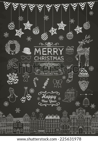 Set of Outlined Christmas Doodle Icons on Chalkboard Texture. Xmas Vector Illustration. Text Lettering. Party Elements, Cartoons - stock vector