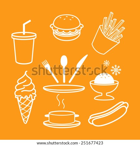 Set of outlined fast food icons.