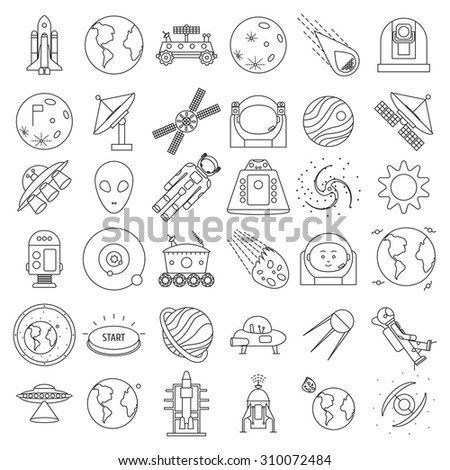 Set of outlined space equipment icons: ufo, space probe, satellite, astronaut, spacesuit, robot, technique. Vector illustration.  - stock vector