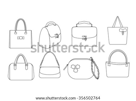 Set of outlines of ladies fashion handbags.Line Handbags in different styles and designs. Vector illustration. Set of line lady bags.Set of linear bags. Different shapes of bag. Linear women bags set. - stock vector
