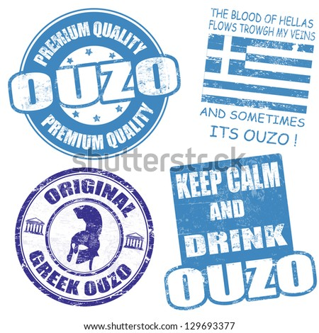 Set of ouzo grunge rubber stamps on white, vector illustration