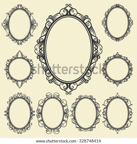 set of oval and round vintage frames, design elements - stock vector