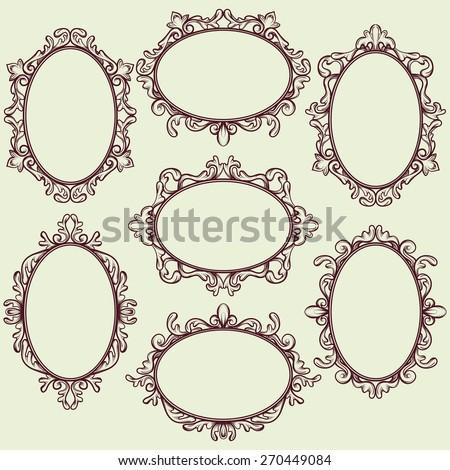 set of oval vintage frames, design elements - stock vector