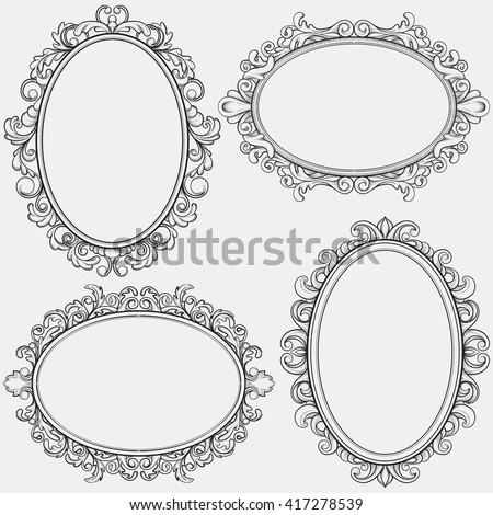 vintage frame design oval. Set Of Oval Vintage Frames, Design Elements Frame