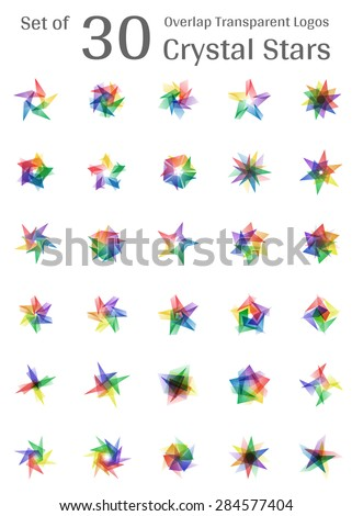 Set of 30 Overlap Transparent Crystal Star Logo Icon Multicolor - stock vector