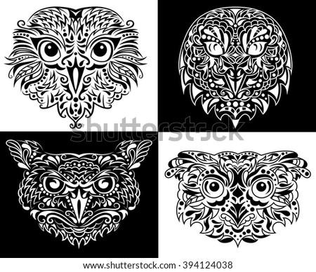 Set of owls.  - stock vector