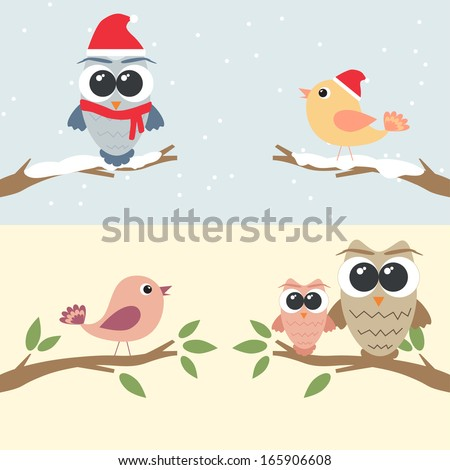 Set of owls and birds sitting on branch - stock vector