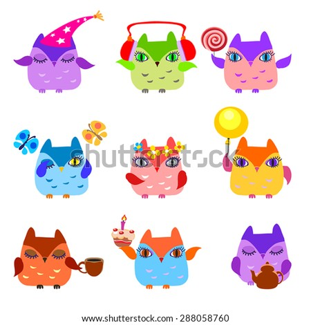 Set of  owls have a birthday hat,candy, cake,cup,teapot,flowers, butterflies, music head,balloon. Little owlets on birthday party. 9 owl icons. Childish. Vector illustration. Design elements.